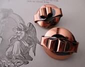 vintage copper clip on earrings -1960s 1970s