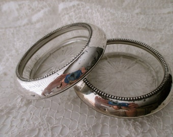 2 vintage STERLING SILVER and glass coasters- Frank M Whiting Co