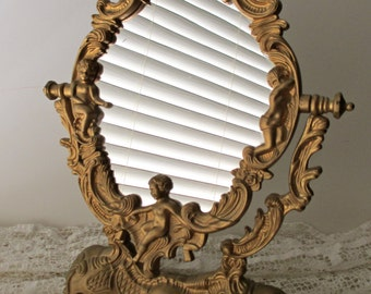 decorative framed ornate vanity mirror- mid century, cherubs, shell,  gold
