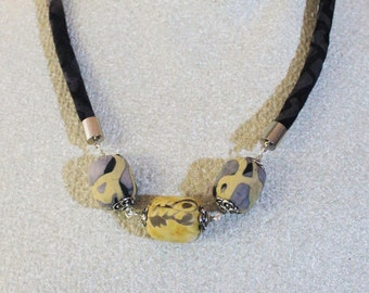 Fabric necklace - Textile necklace - Fabric jewelry - Textile jewelry - Fabric beads - Fiber Art jewelry
