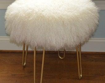 Real Natural White Mongolian Lamb Fur Stool Tibet  Bench Brass legs made in USA New Sheepskin Ottoman