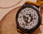 Vintage Retro Steampunk Handcraft Watch with Handstitch Leather Band /// Snowfield - Perfect Gift for Birthday and Anniversary
