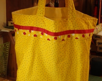 OOAK - Lady Bugs on Yellow Jumbo Lined Cloth Market Tote with Inside Pocket