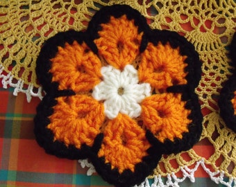 Crochet Coasters Cream Orange Black Set of 4