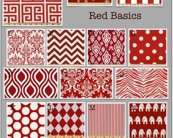 Custom Baby Crib Bedding- Design Your Own Modern Bedding/ Dorm Bedding- Glider Cushions- Modern Basics (Red)