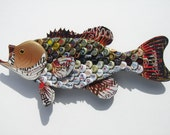 Large Mouth Bass Fish with Beer Bottlecaps Metal Bottle Cap Wall Art