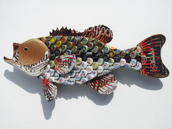Large Mouth Bass Fish with Beer Bottlecaps Metal by EricsEasel