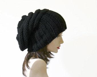 Slouchy Hat  Black Chunky Wool Hat Black Hat Winter Hat