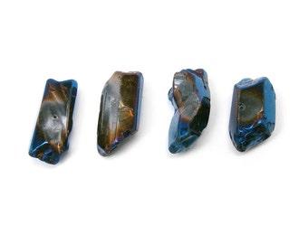Blue Metallic Quartz Points Polished 25mm 4 pcs (B9)