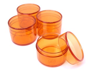 Bead Storage or Jewelry Packaging Round Box Orange Clear Tiny 1 1/4 by 1 inch 4pcs