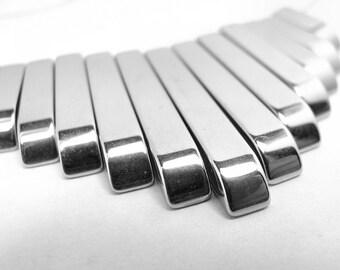 Silver Plated Hematite Fan Beads 50mm wide fan 6 - 30 mm long beads 13pcs graduated (2049)