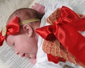Christmas Layette gown with Angel wings Coming home outfit
