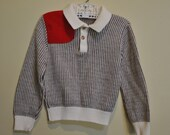Vintage DOE-SPUN Herringbone Pattern Cord Patch Sweater for Boys size 4 / 5