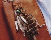 TFK-01, Handmade tribal yarn and feather keychain, turquoise,southwest