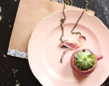 Pink Flamingo. Miami Vice Necklace. Art Deco Style. Hand Made by Vuelavuela Bijoux