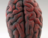 Ceramic Brain Wall Sculpture with Black and Red Lichen glazes