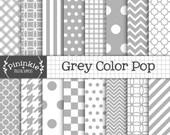 Grey Digital Paper - Light Grey - Instant Download - Commercial Use - grey chevron, grey polka dots, grey stripes, grey quatref