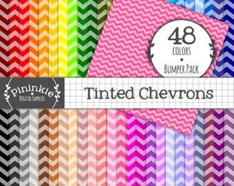 Chevron Digital Scrapbooking Papers, INSTANT DOWNLOAD, Chevron Digital Paper Pack, Backgrounds, Zig Zag Printable Paper, Commercial Use (CU)