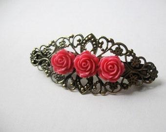 Vintage style rose barrette - Hot pink roses on antique bronze filigree