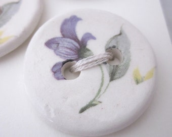 4 Small Blue Flower White Ceramic Buttons