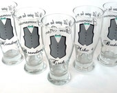 Will you be my Groomsman pilsner beer glasses, Wedding party glasses with vest. Name and title included. 1 glass.  Will you be my best man?