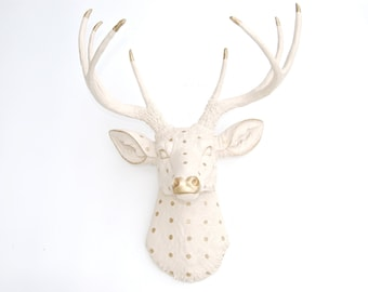 Faux Taxidermy - Ivory and Gold Dot Deer Head - Wall Mount D626253