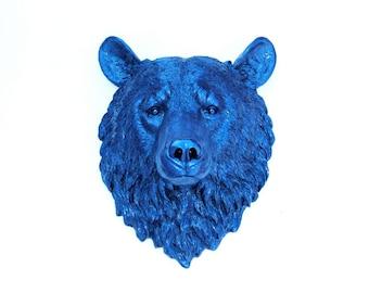Faux Taxidermy - Metallic Blue Bear Wall Mount - Faux Taxidermy BE14