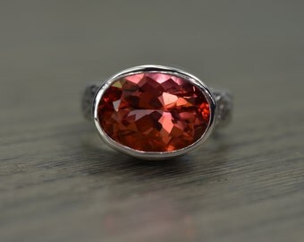 Cinnamon Coral Topaz Ring, 8ct oval silver chunky wide band ring - Fiona Ring