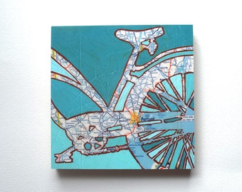 Portland, ME mounted print - Portland, Biddeford, Old Orchard Beach, Maine bicycle art mounted to wood