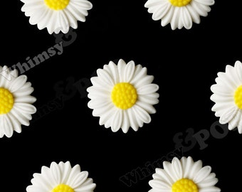 27mm - Large Matte White Daisy Sunflower Resin Cabochons, Daisy Cabochons, Flower Cabochons, Flower Cabs, Sunflower Cabochons (R6-042)