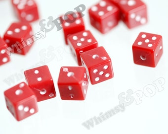 50 - Red Dice Acrylic Cube Beads, Cube Beads, Square Beads, 7.5mm, 1.5mm Hole (R7-098)