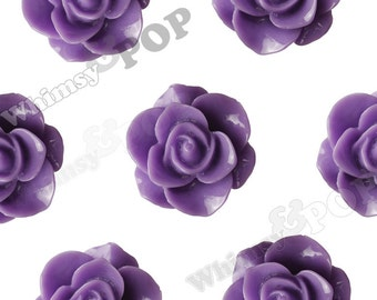 Purple Star Flower Cabochons, Flower Cabs, Flower Flatback Embellishments, Flower Cabs, 21mm x 9mm (R7-084)