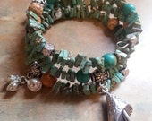 Beautiful Turquoise/Magnesite Memory Wire Bracelet With Charms