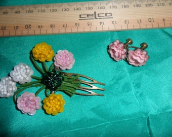 Authentic VERY Old Vintage Artist Made Hair Comb and Earings - FREE POSTAGE