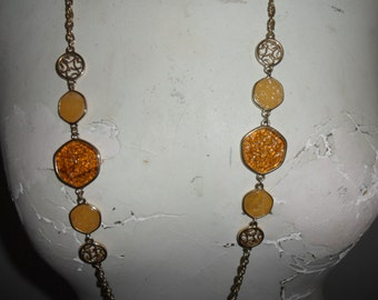 "Authentic Vintage  SIGNED SARAH COV Sarah Coventry Gold Necklace ""Taste Of Honey"" And Matching Earrings"