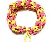 Pink and Yellow Rubber Band Bracelet - Make Great Gifts for Girls and Women