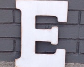 "12"" Wooden Letter E, Distressed White, Classic Font - all letters available in many colors"