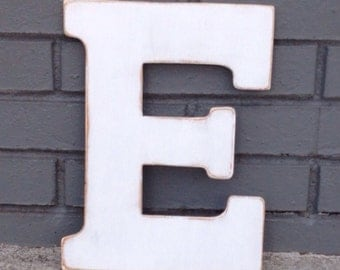 """12"""" Wooden Letter E, Distressed White, Classic Font - all letters available in many colors"""