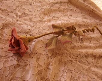 Antique/Vintage Hand Made Cloth Velvet Pink Long Stemmed Rose