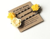 Flower Hair pins, Yellow Flower hairpins, Set of 3, bobby pins,