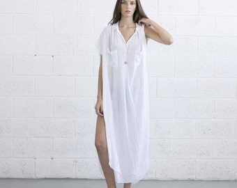 Summer Sale - Long White Kaftan Dress