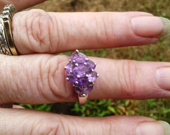 size 8, sterling, amethyst ring