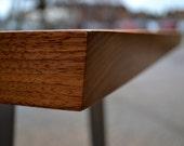 Desk - Solid Black Walnut - Solid Steel Trapezium Base
