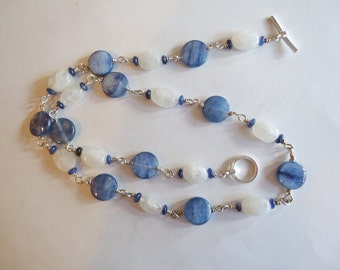 Blue Kyanite and Rainbow Moonstone Wire Wrapped Necklace
