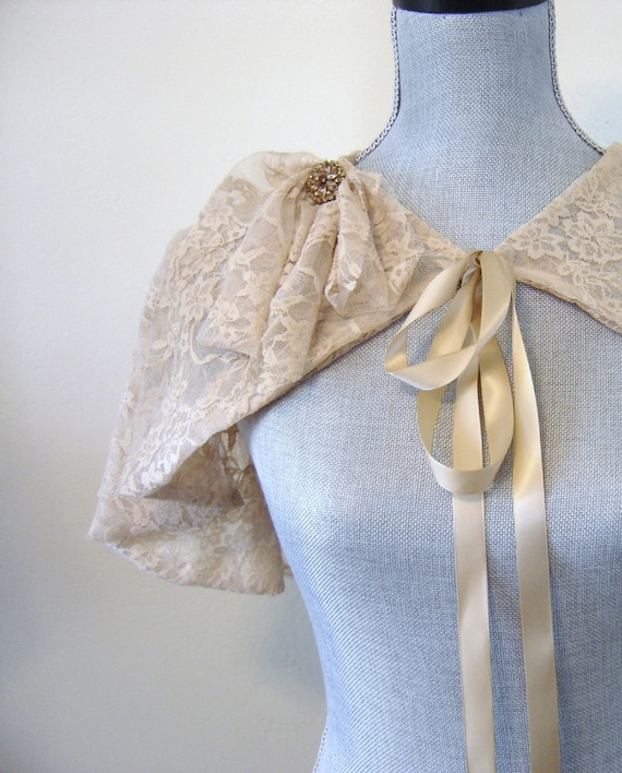 Taupe Bridal Capelet, Taupe Lace Bridal Shrug, Bridal Cover Up, Cape, Capelet, Flapper, Bridesmaid, Downton Abbey, Amber Rhinestone EDITH