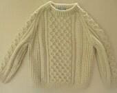 Authentic Irish Fisherman (Aran) Sweater - Size 4-5