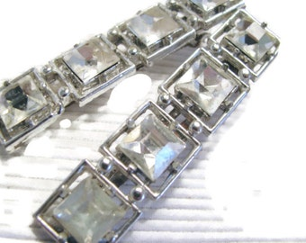 TWO Clear faceted lucite hair clips for wedding or occasion