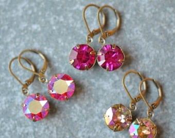 Pink Fuchsia Beige Rainbow Earrings Swarovski Crystal Vintage Drop Earrings Savannah Super Sparklers Mashugana