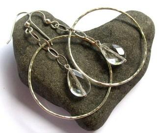Sterling Silver Hammered Hoops, Clear Quartz Crystal Earrings, Elegant Jewelry
