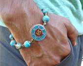 Men's Spiritual Tibetan Om Bracelet with Semi Precious Imperial Jasper, Hematites, Tibetan Om Bead Silver and Brass Turquoise, Coral Inlay